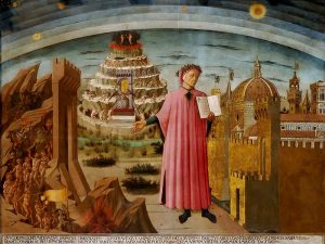 Dante holding The Divine Comedy