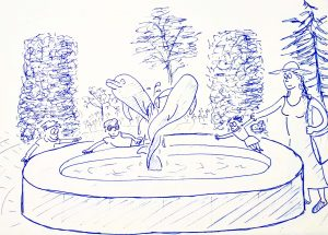 Hurlingham Club dolphin fountain